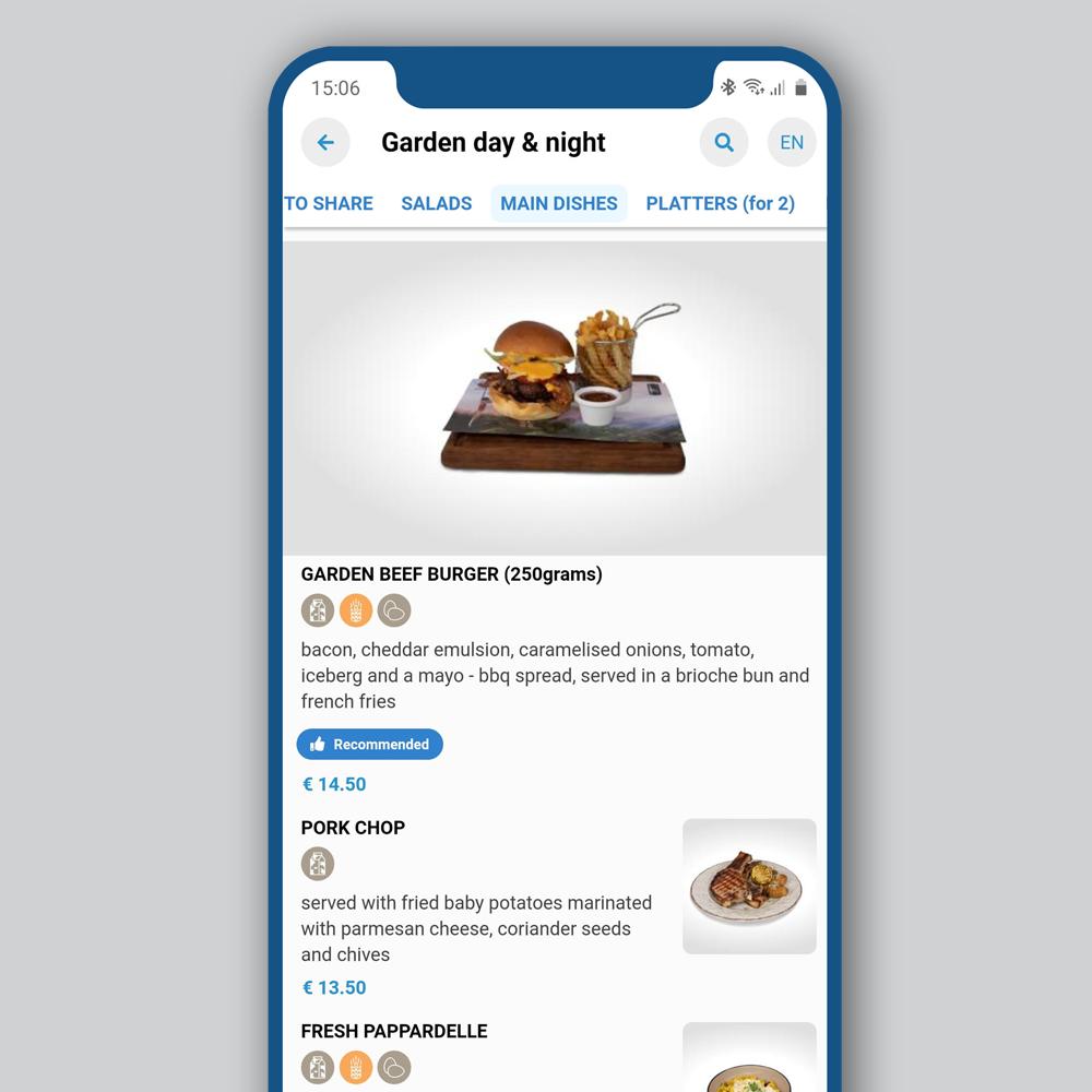 Mobile phone showing QuiQi maximized dish picture with description