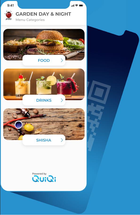 Blue mobile phone showing QuiQi main screen