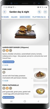 Mobile phone showing QuiQi menu
